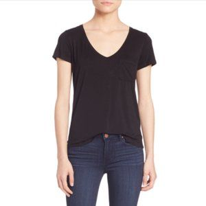 PAIGE V-Neck Top Tee T-Shirt Short Sleeve Black XS